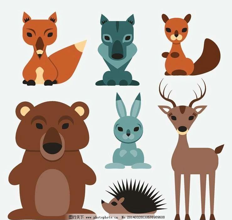 设计图库 广告设计 卡通设计  卡通动物设计动画动物 小熊 狐狸 小鹿