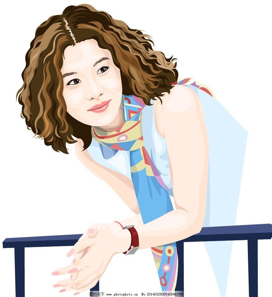卡通清新时尚可爱卷发美女