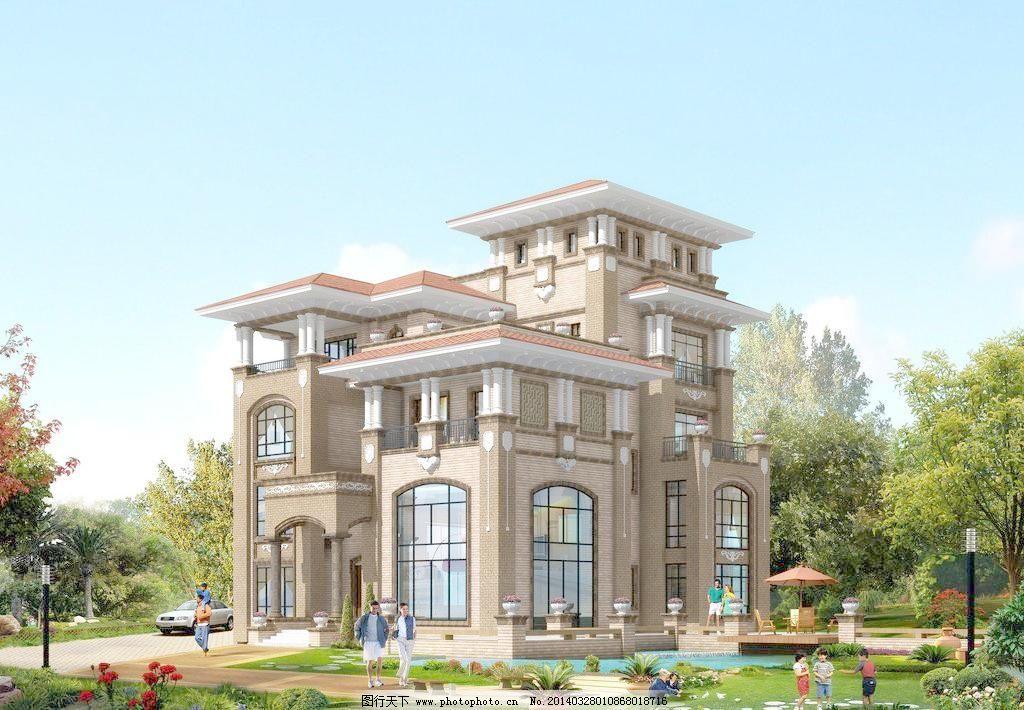 高档 环境设计 建筑设计 欧式 漂亮 设计 别墅效果图设计素材 别墅