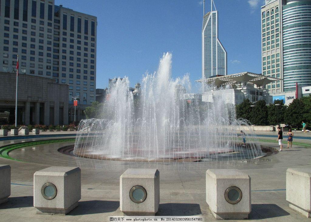 喷泉 广场喷泉 水柱 蓝天 音乐喷泉 园林建筑 建筑园林 摄影