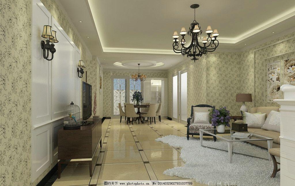 欧式小洋房客厅效果图图片