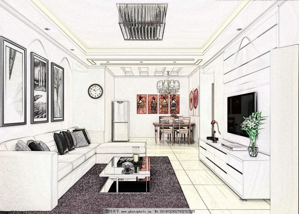 现代简约客厅概念效果图图片