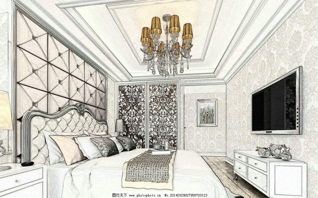 简欧概念卧室效果图图片