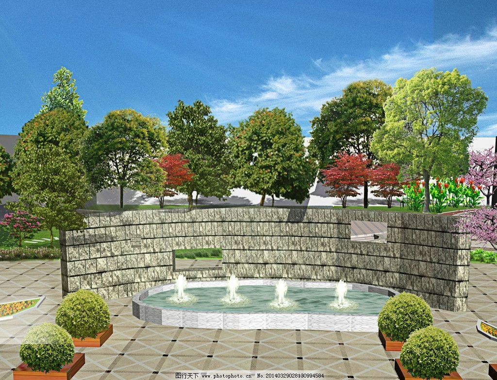 喷泉 树阵 花坛 广场入口