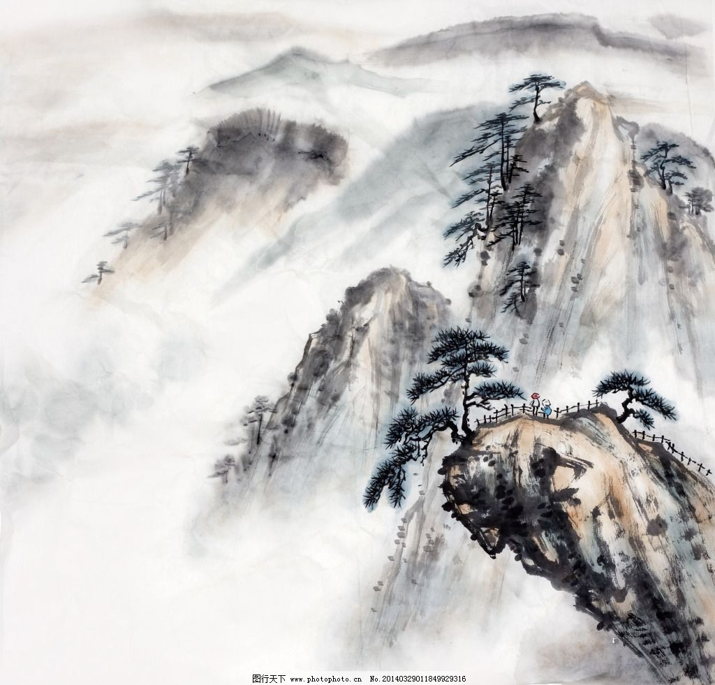 黄山 黄山免费下载 山水画 水墨画 意境 家居装饰素材 壁纸墙画壁纸