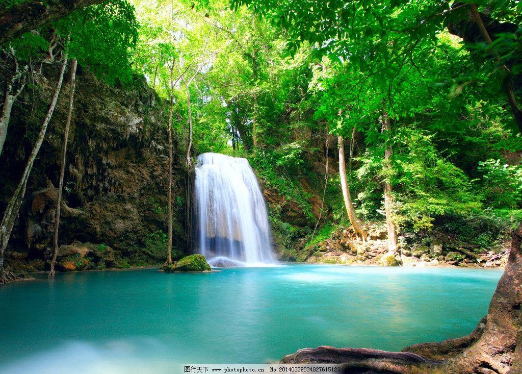瀑布 美丽 自然 树林 水流 绿树 绿叶 美丽自然 自然风景 自然景观