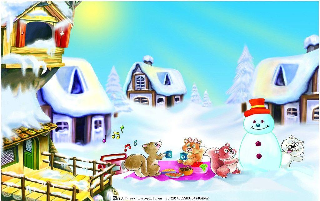 雪屋 插画 卡通 可爱 房子 冬天 雪人 儿童 其他 动漫动画 设计 100