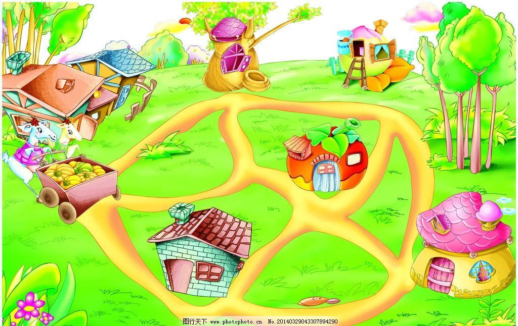 动物们的家 插画 卡通 可爱 动物 蘑菇 房子 儿童 其他 动漫动画 设计