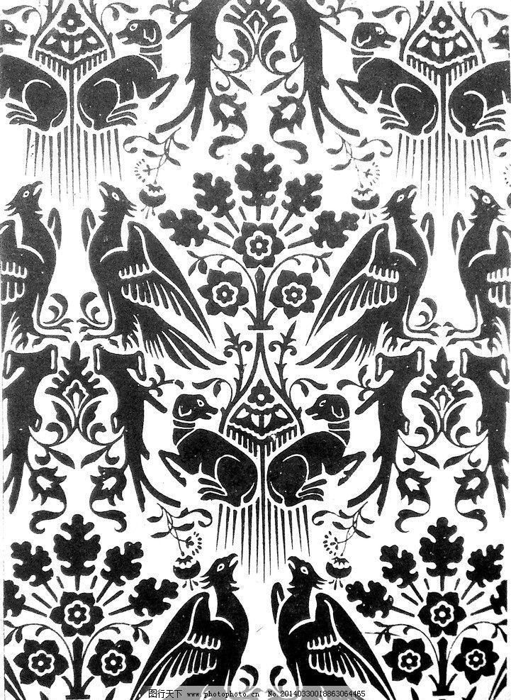动物装饰画 鸟狗 植物 图案 底纹 黑白画 传统 纹样 花纹