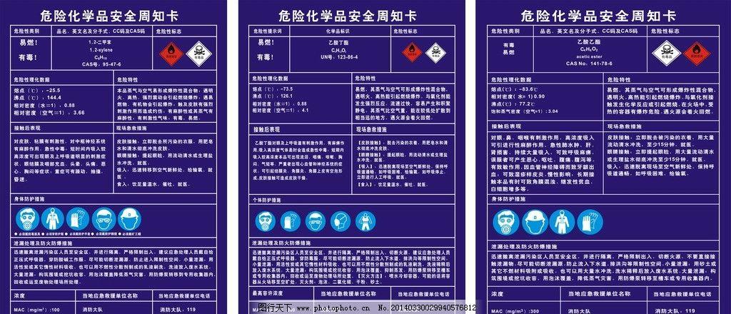 危险 化学品 安全 周知卡 卡片 名片卡片 广告设计 矢量 cdr
