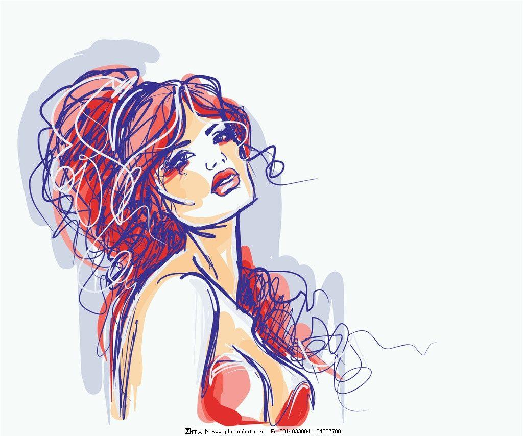 手绘少女 女孩 女人 时尚 女性 美少女 内衣 性感美女 女子