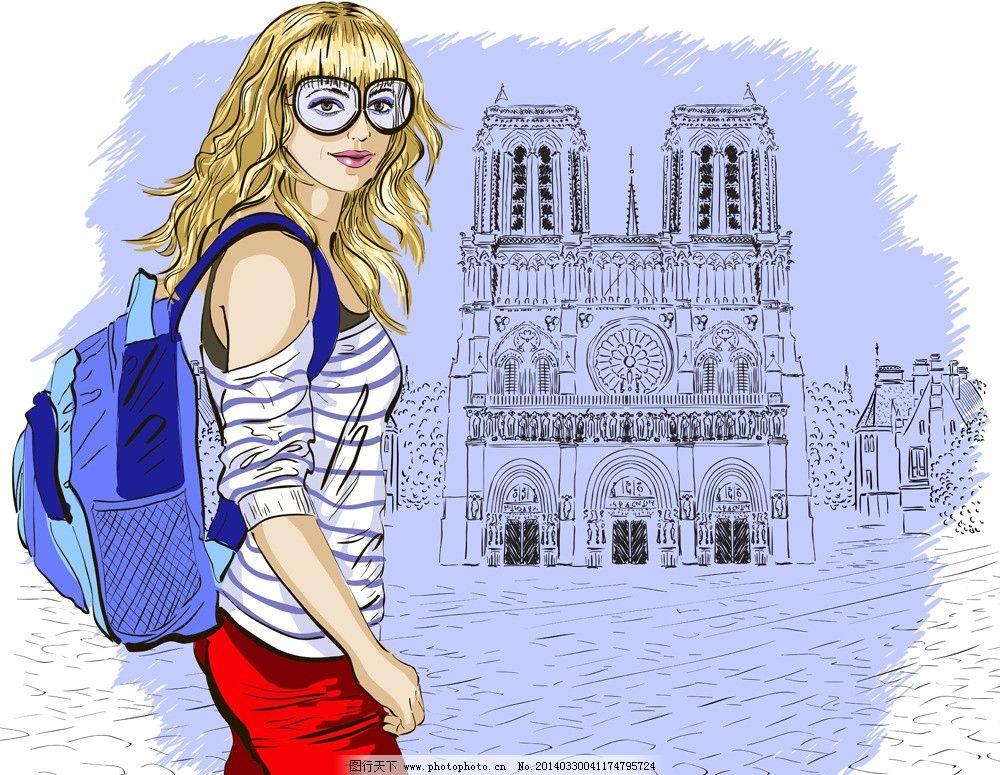 手绘女性 手绘少女 女人 美丽 浪漫 都市时尚美女 线描 女子