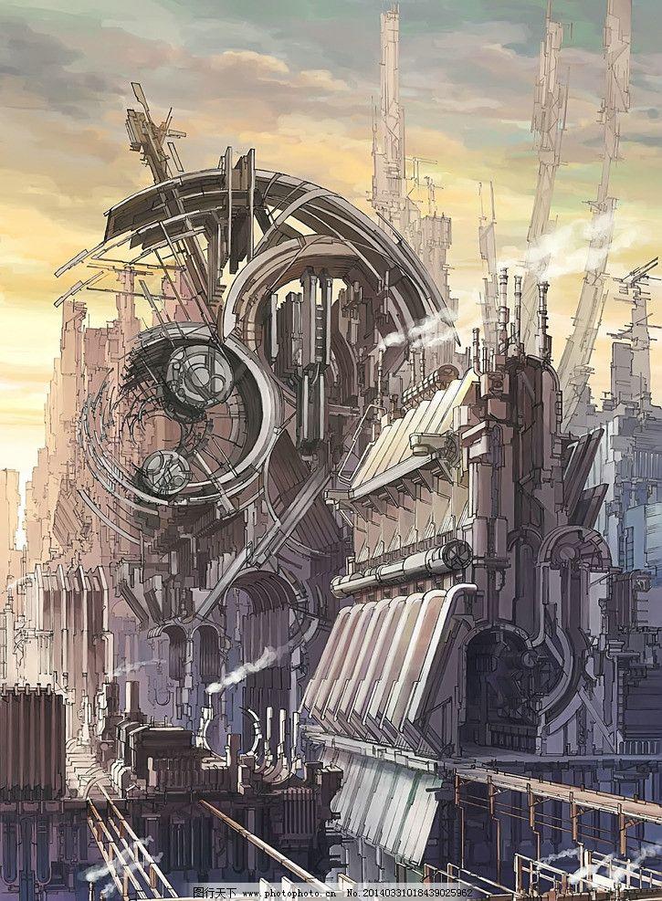 未来都市 插画 动漫背景 动漫动画 手绘 壁纸 光影 数字绘画