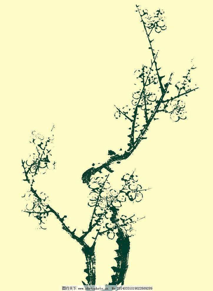 国画梅花 国画 山水画 水墨画 梅花 树木 花草 植物 艺术 中国传统