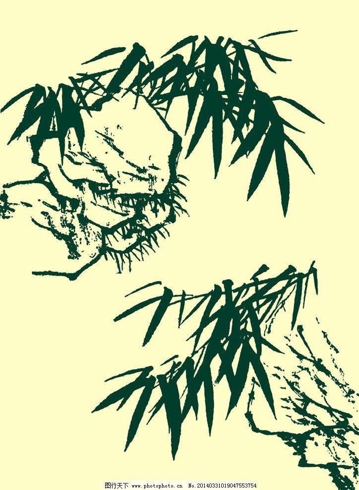 树木山石手绘图片
