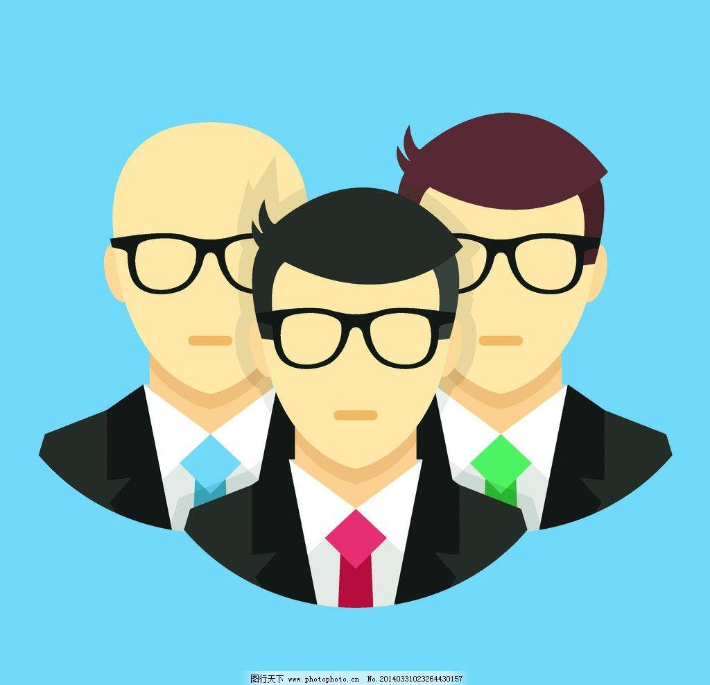 卡通人物 人物剪影 商人 商务金融 洽谈 白领 姿势 动作 商务人物矢量