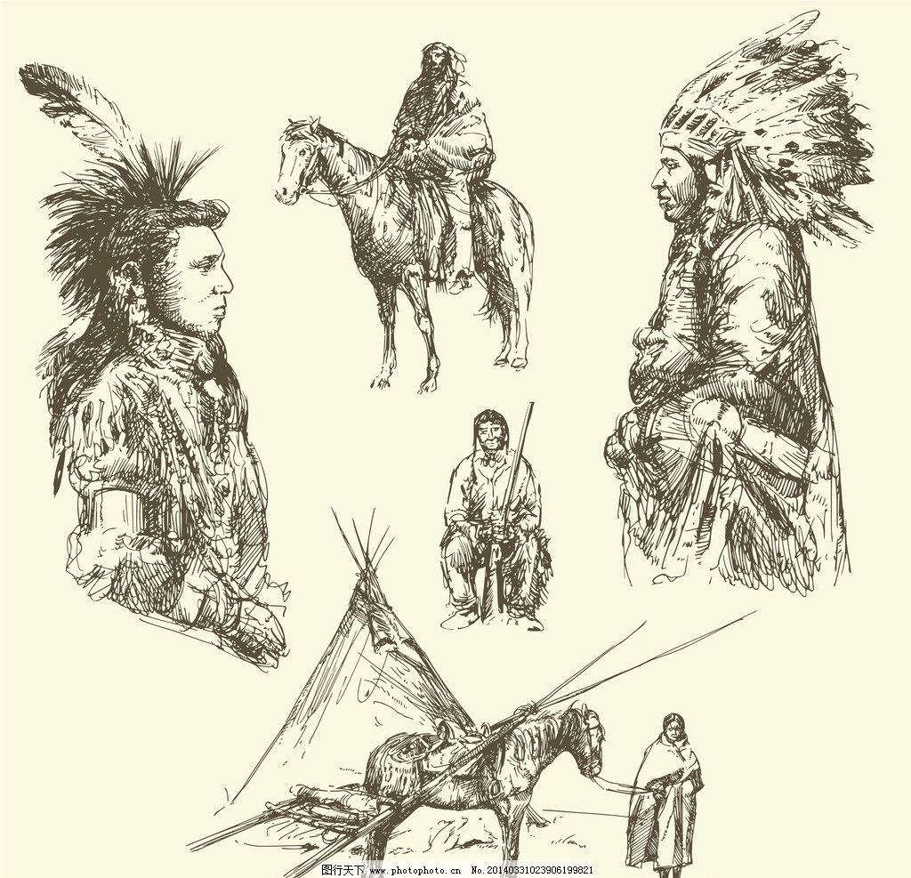 印第安人 印第安图腾 部落图腾 手绘 美国原住民 羽毛 帽子 矢量