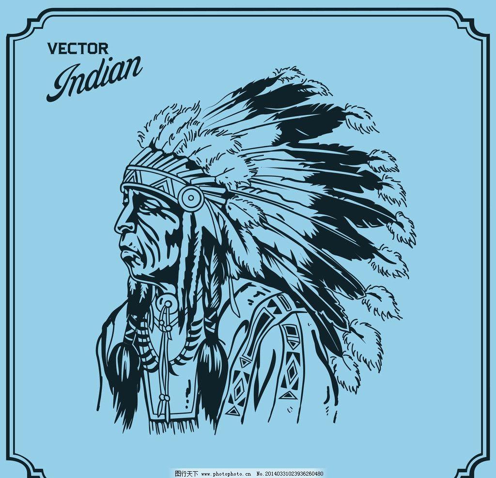 印第安人 印第安图腾 部落图腾 手绘 美国原住民 羽毛 帽子 矢量 其他
